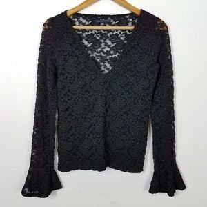 American Eagle Black Lace Long Bell Sleeve Top